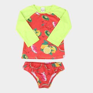 Conjunto Juvenil Boca Grande Camiseta Manga Longa e Calcinha Com Proteção UV 50+ Feminino