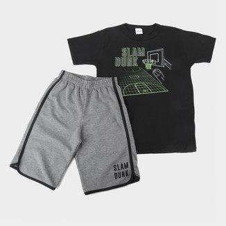 Conjunto Juvenil Elian Camiseta E Bermuda Moletinho Masculino