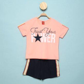 Conjunto Juvenil Kyly Blusa +Shorts Moletom Power Feminino