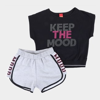 Conjunto Juvenil Kyly Blusa+Shorts Moletom Keep The Mood Feminino