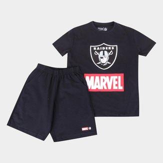 Conjunto Juvenil NFL Disney Camiseta e Bermuda Marvel Masculino