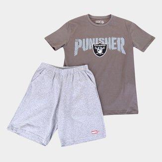 Conjunto Juvenil NFL Disney Camiseta e Bermuda The Punisher Masculino
