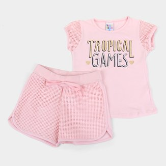 Conjunto Juvenil Pulla Bulla Tropical Games Feminino