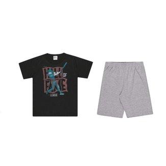 Conjunto Kaiani camiseta meia malha e bermuda em Suedini 9595