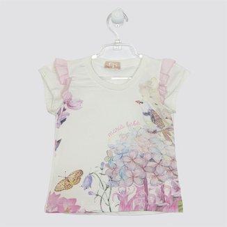Conjunto Mariá Bebê Camiseta Floral Aquarela Saia Babados