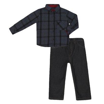 Conjunto Masculino Bebê Camisa e Calça Jeans