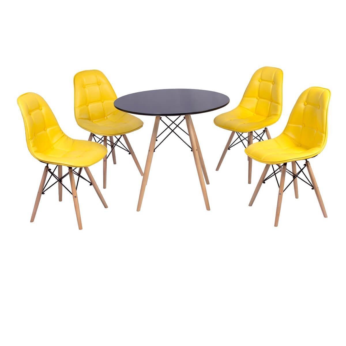 Conjunto Mesa Eiffel + 4 Cadeiras Dkr Charles Eames Wood Estofada Botonê -  Compre Agora  e048f68e92e