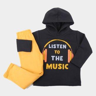 Conjunto Moletinho Bebê Pipa Listen To The Music Com Capuz Masculino
