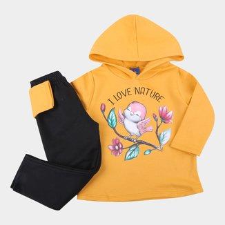 Conjunto Moletinho Infantil Pipa I Love Nature Com Capuz Feminino