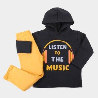 Conjunto Moletinho Infantil Pipa Listen To The Music Com Capuz Masculino