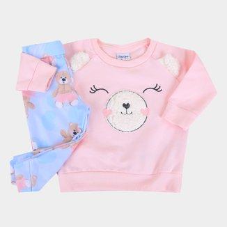 Conjunto Moletom Bebê Fakini Peluciado Ursos