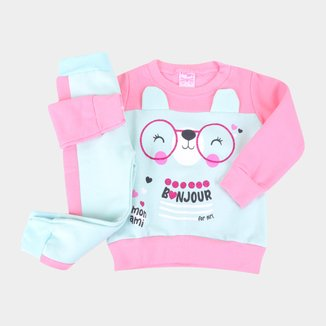 Conjunto Moletom Bebê For Girl Bonjour Feminino