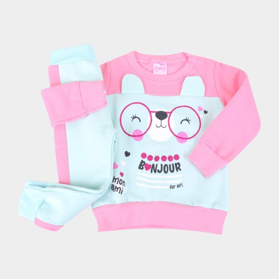 Conjunto Moletom Bebê For Girl Bonjour Feminino - Rosa