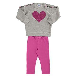 Conjunto Moletom Bebê Marlan Love Blusa + Legging Feminino