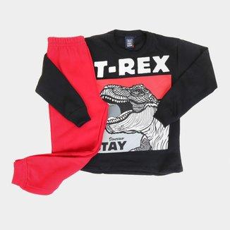 Conjunto Moletom Bebê Mia Kids Calça E Blusa T-Rex Masculino