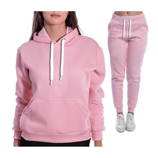 Conjunto Moletom Blusa E Calça Feminino Liso Sem Estampa - Rosa Claro