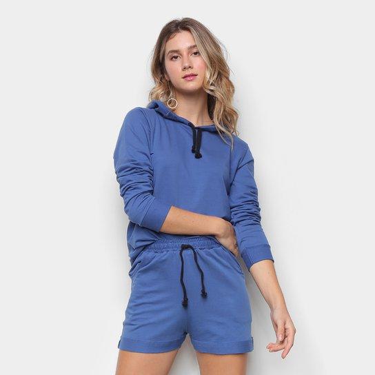Conjunto Moletom e Short Básico Liso Feminino - Azul
