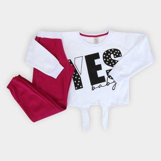 Conjunto Moletom Infantil Costão Peluciado Yes Baby Com Recortes Feminino