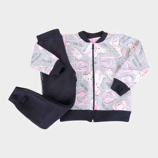 Conjunto Moletom Infantil For Girl Matelassê Dog Feminino