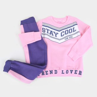 Conjunto Moletom Infantil For Girl Stay Cool Feminino