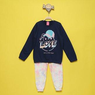 Conjunto Moletom Infantil Kamylus Tie Dye Blusa + Calça Feminino