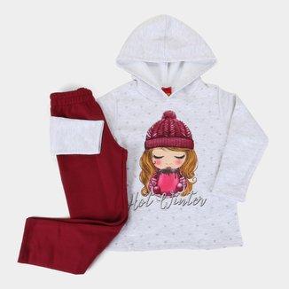 Conjunto Moletom Infantil Kyly Hot Winter Feminino