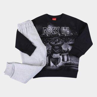 Conjunto Moletom Infantil Kyly Rock Peluciado Masculino