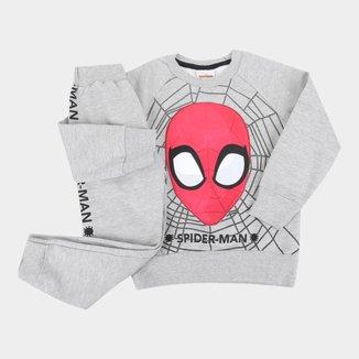 Conjunto Moletom Infantil Marvel By Fakini Peluciado Spider-Man Masculino