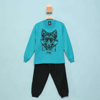 Conjunto Moletom Infantil Mia Kids Calça E Blusa Fox Masculino