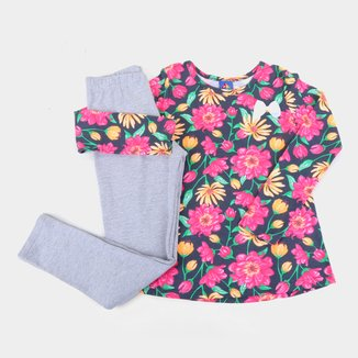 Conjunto Moletom Infantil Pipa Floral Feminino