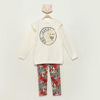 Conjunto Moletom Infantil Quimby Inspire Blusa + Calça Feminino