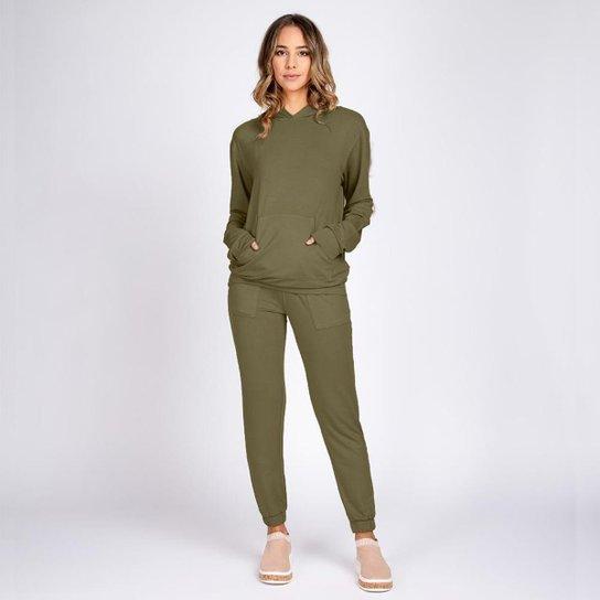 Conjunto Moletom Leve Bloom Blusa Bolso Canguru e Calça Jogger - Verde escuro