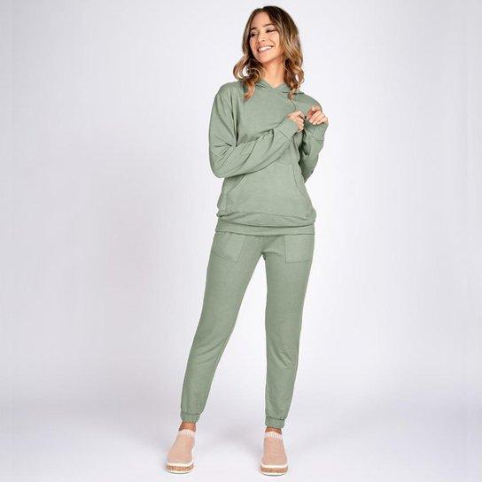 Conjunto Moletom Leve Bloom Blusa Bolso Canguru e Calça Jogger - Verde claro