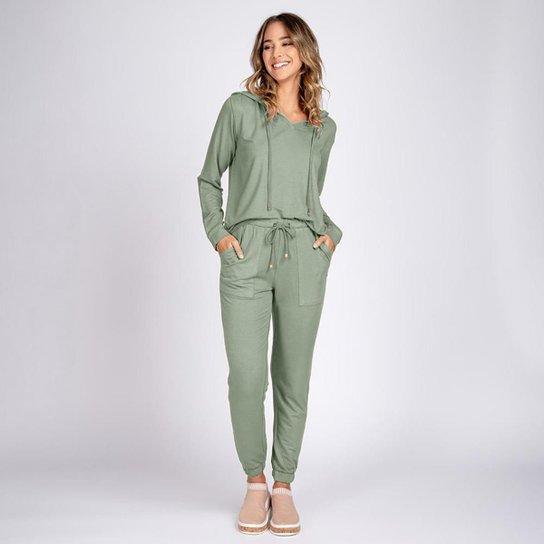 Conjunto Moletom Leve Bloom Blusa Gola V e Calça Jogger - Verde claro