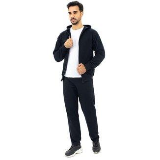 Conjunto Moletom Masculino Flanelado Calça Jaqueta Com Capuz