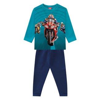 Conjunto Moletom Peluciado Infantil Kyly Racer Blusa + Calça Masculino