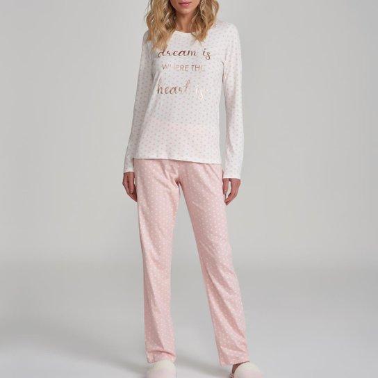Conjunto Pijama Com Amor Feminino - Rosa