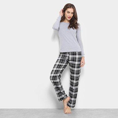 Conjunto Pijama Flora Zuu Longo Xadrez 3 Peças Feminino