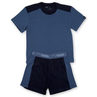 Conjunto Pijama Mash Infantil Algodão Camiseta Bermuda Masculino