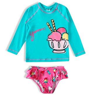 Conjunto Praia Bebê 0 a 12 Meses Infantil Menina Turquesa e Rosa FPS 50+ Tip Top - 6 - 12 Meses