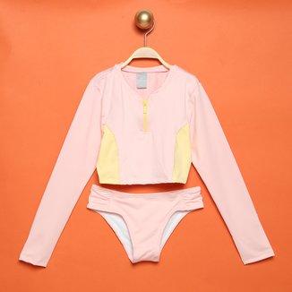 Conjunto Praia Infantil Hering Kids Camiseta Manga Longa+ Calcinha Com Proteção UV 50+