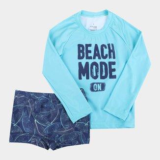 Conjunto Praia Infantil Malwee Proteção UV 50+ Manga Longa Masculino