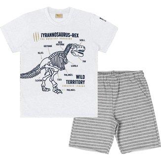 Conjunto Rolu camiseta meia malha e bermuda moletom fit listrado 94664