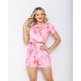 Conjunto short e blusa Closet K Moletinho Viscose Tie Die Feminino