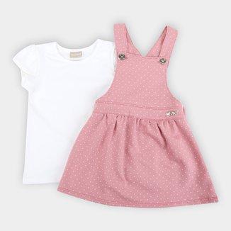 Conjunto Vestido Bebê Milon Moletinho Salopete Feminino
