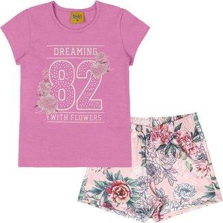 Conjunto: blusa meia malha e shorts malha 3D sublimada 93473