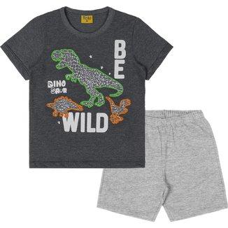 Conjunto: camiseta meia malha e bermuda moletom fit 94422