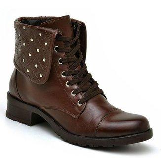 Coturno Casual Atron Shoes Couro Feminino Cadarço Dia a Dia