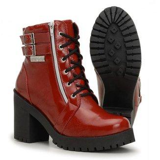 Coturno Casual Atron Shoes Couro Feminino Verniz Dia a Dia