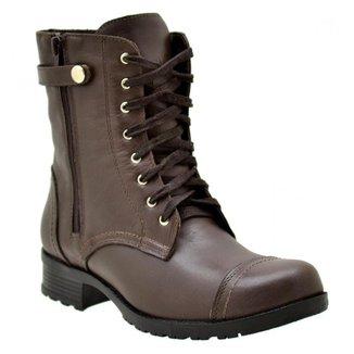 Coturno Casual Atron Shoes Couro Feminino Zíper Confortável